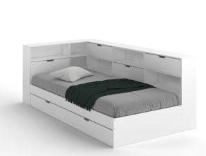 Κρεβάτι από συμπαγές πεύκο με αποθηκευτικό χώρο YANN