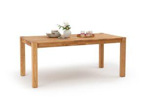 Τραπέζι τραπεζαρίας από μασίφ ξύλο δρυ με 2 προεκτάσεις, Adelita