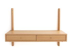 Επίτοιχο γραφείο από ξύλο δρυ με 2 συρτάρια, Badis